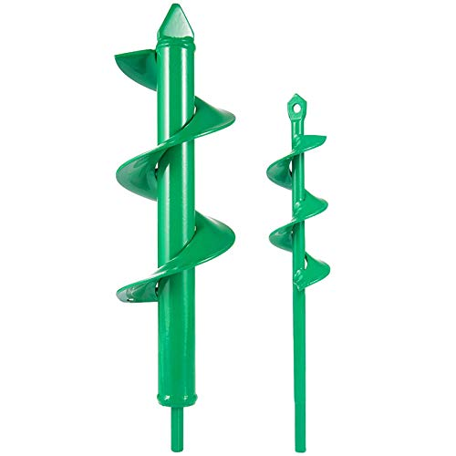 "2 Pcs Auger Drill Bit- 3.2'' x 12' and 1.6'' x 8.7' Garden Drill Bit Garden Plant Auger Post Hole Digger for 3/8"" Hex Driver Drill Planting(Grass Green)"