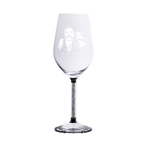 Copa de cristal de foto personalizada con vasos de diamantes Juego de vino personalizado para novio(1 taza)