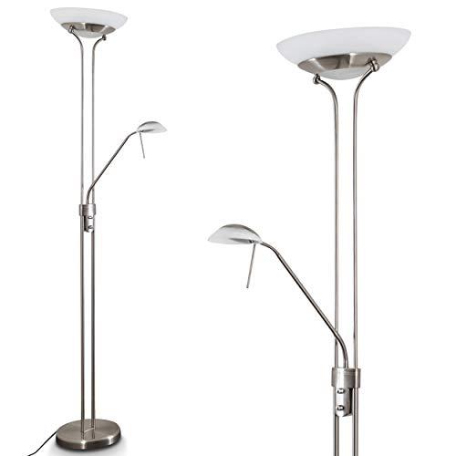 LED Stehlampe Biot, dimmbarer Deckenfluter aus Metall in Nickel-matt, 18 u. 5 Watt, 2070 Lumen (insgesamt), Lichtfarbe 3000 Kelvin (warmweiß), Standleuchte mit Dimmer u. verstellbarem Lesearm
