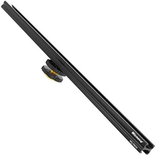 Micnova Professionele flitsschoenrail verlengingsrail 30,5 cm lang - geschikt voor de ISO-518 accessoire schoen voor uw camera met 1/4 inch schroefdraad voor uw statief