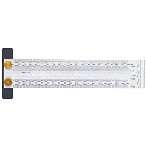マーキングスケール絶妙で正確なポータブル便利で丈夫で耐久性のある多機能T字型ホールルーラーT字型ホールルーラーステンレススチールラインルーラー(200mm)