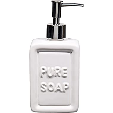 UC Kitchen 14Oz Versatile White Embossed Pure Soap Dispenser. Stylish Design Perfect for your Kitchen or Bathroom