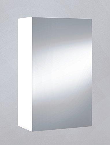 Armario con Espejo, Cuarto de baño o Aseo, para Colgar con 1 Puerta y 2 baldas Interiores Color Blanco Brillo 40x65x21cm