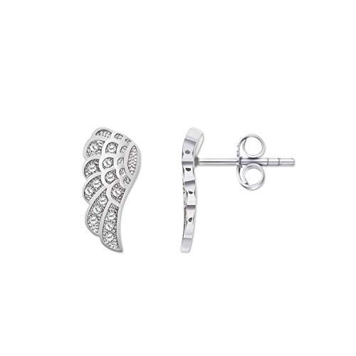 Pendientes de alas de ángel, alas de ángel, 1 par de pendientes de 7 x 14 mm, símbolo de joyas, plata de ley 925 con circonitas blancas, regalo de boda, cumpleaños