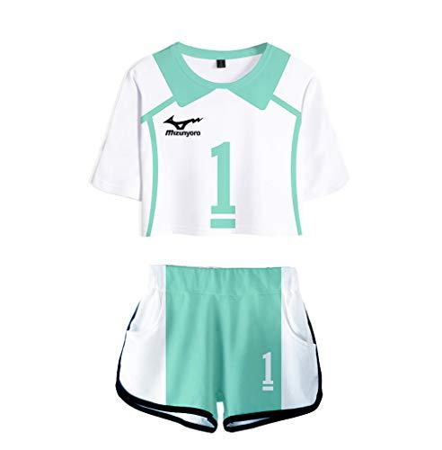 2 Piece Haikyuu Cosplay Oikawa Tooru Aobajohsai High School Volleyball Jersey Uniform Crop Top Shirt Shorts Pants Sets 1 M