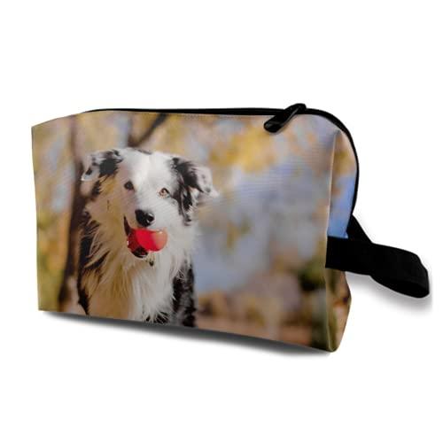 Neceser Colgante de Viaje,Un Border Collie Animal Perro se está ejecutando con una Bola roja,Organizador de Maquillaje cosmético Bolsa de higiene y Organizador de Ducha