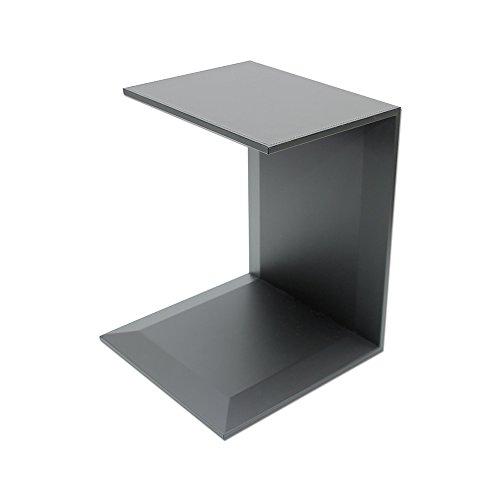 Eglooh - Free - Tavolino Divano Laterale in Cuoio Grigio Antracite - Struttura Interna in Legno - Comodino Ribaltabile con 2 Ripiani - Cuciture Artigianali - cm 40 x 40 H.50 - Made in Italy