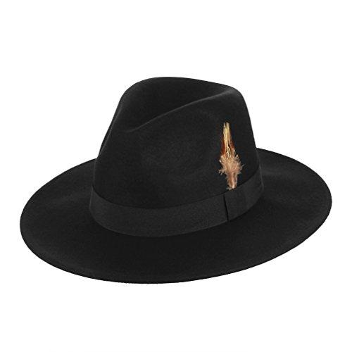GEMVIE Chapeau Fedora Homme/Femme 100% Laine Chapeau Trilby Feutre Large Bord Noir Hiver Chapeau de Jazz Vintage (Noir)