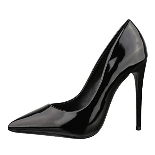 Elara Spitze Damen Pumps Stilettos High Heels Chunkyrayan B-1 Black-36