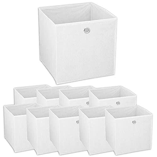 Murago - 10er Set Faltbox ca. 30x30x30 cm Weiß Würfel Aufbewahrungsbox faltbar Aufbewahrungskörbe Einschub Korb Boxen Box Stoff Regalkorb Klappbox