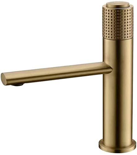 Fregadero del baño grifo mezclador grifo del fregadero de latón termostático monomando de un solo orificio grifo del fregadero instalación de la cubierta grifo del fregadero oro cepillado