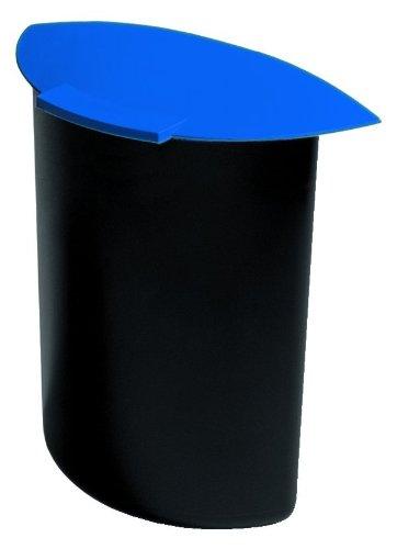 HAN 1839-14, Abfalleinsatz MOON mit Deckel, Schick und Praktisch, Für die perfekte Abfalltrennung, 6 Liter, schwarz-blau
