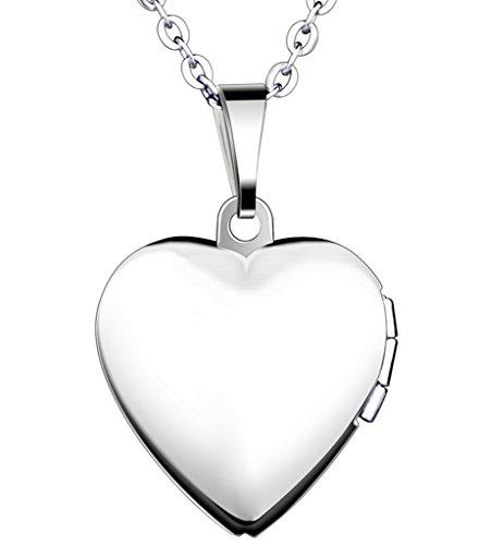 Yumilok Edelstahl Foto Medaillon zum Öffnen Photo Bilder Amulett Silberfarben Blau Herzanhänger Halskette Kette mit Anhänger für Damen Mädchen
