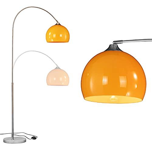 WUDSEE Lámpara de Pie Arqueada de Altura Ajustable con Base de Mármol e Pantalla de Acrílico Pulido e Casquillo de Lámpara E27 para Sala de Estar, Dormitorio, Color:Altura 150-225cm,Naranja