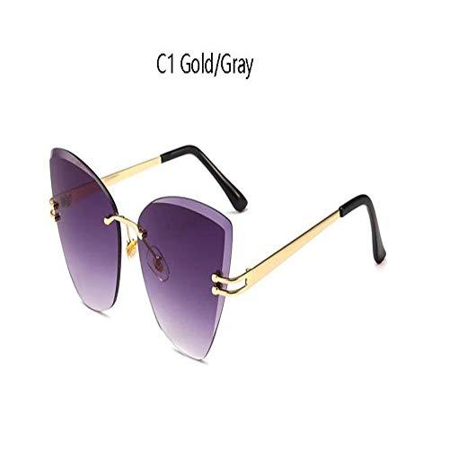 Gafas De Sol Gafas De Sol Sin Marco Cat Eye Gafas De Sol Marrón Transparente Rosa Cat Eye Gafas De Sol Mujer C1Gray
