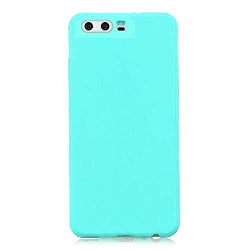 cuzz Funda para Huawei P10+{Protector de Pantalla de Vidrio Templado} Carcasa Silicona Suave Gel Rasguño y Resistente Teléfono Móvil Cover-Azul Claro