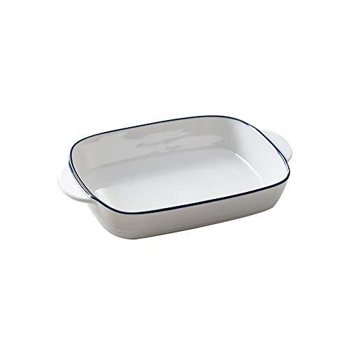 HCHLQLZ Blanc Petits Plat Four rectangulaire en céramique pour Four-Plat à gratin/lasagn-22.8X 13.8 cm(546ML)