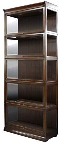 Casa Padrino Mahagoni Bücherschrank mit 5 Glastüren und LED Beleuchtung Dunkelbraun 90 x 39 x H. 223 cm Büromöbel