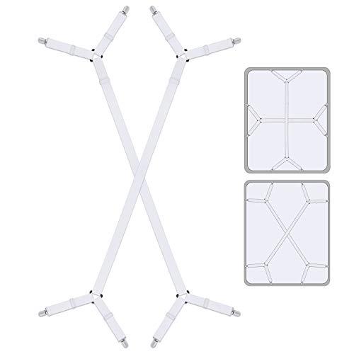 Bed Sheet Holder Straps Bed Sheet Fasteners Suspenders Holder Straps Adjustable Crisscross Elastic Band Fitted Bed Sheet Holder Fasteners Grippers Clip2pcs/Set White