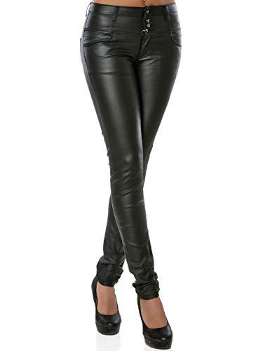 Daleus Damen High-Waist Kunstlederhose Skinny DA 15974 Farbe Schwarz Größe XS (Herstellergröße 34)