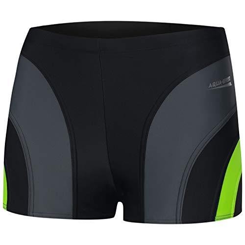 Aqua Speed Retro Badehose für Männer + gratis eBook | Schwimmhose Herren | UV Badepants | Trunk Wassersport | Sasha, Gr. XL, 138 Black Gray Green