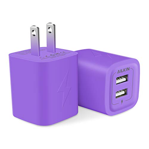 AILKIN USB Plug, Wall Charger Fast Charging Block, Power Adapter Cube 2 Port Charge Travel Brick Cell Quick Chargers Box for iPhone 12/11 pro/X/8/7, iPad, Samsung Phones and More USB Charging Box