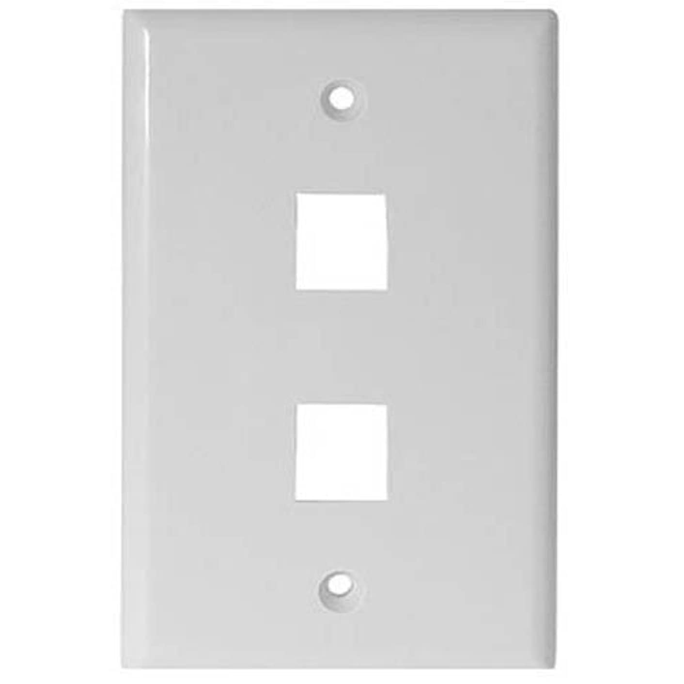 White 2 Port Hole Keystone Jack Flat Wall Plate with Smooth Surface (20/pack)