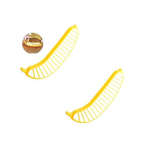 Ogquaton 2 STÜCKE Multi-Funtion Bananenschneider Slicer Chopper Praktische Küche Kleines Werkzeug für Obstsalat etc Gelb Hohe Qualität