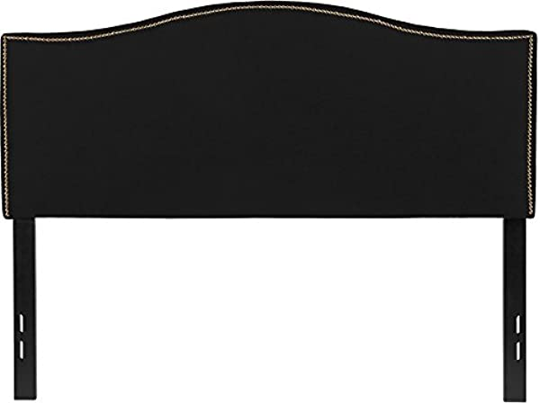 Emma Oliver Upholstered Full Size Headboard With Nailtrim In Black Fabric