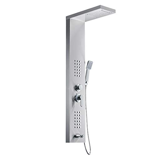 49' Rainfall Waterfall Shower Panel with Rainfall Shower Head,Stainless Steel Wall Mount Massage Multi-Function Bathroom...