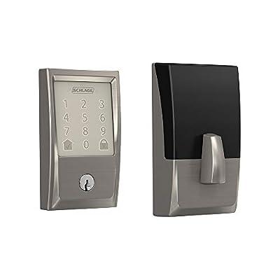 Schlage Lock Company BE489WB CEN 619 Schlage Encode Smart WiFi Deadbolt with Century Trim In Satin Nickel, Lock