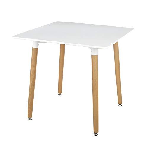 Brigros - Tavolo Quadrato Piccolo da Cucina Moderna in MDF, con Gambe in Legno di faggio Moderno di Design scandinavo, Arredamento Cucina, Soggiorno, Dimensione 70x70x74 cm (Bianco)