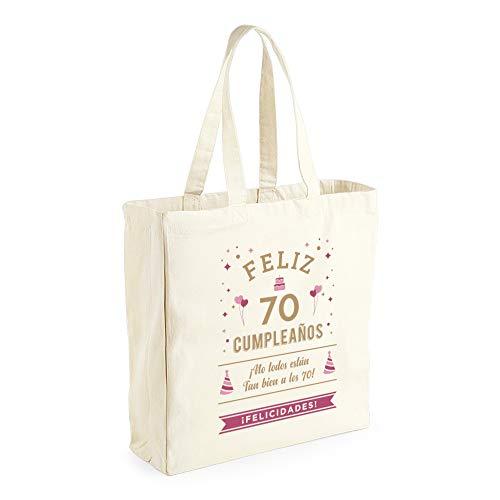 Design, Invent, Print! Borsa in tela di cotone per il 70° compleanno, da donna, idea regalo, souvenir o per fare la spesa, naturale, 42 x 39 x 13 cm