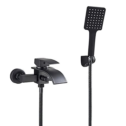 WXDL Badewannenarmatur Wasserfall Matt-schwarz Wannenbatterie Messing Wandhalterung Badewanne Wasserhahn Einzelgriff Heiß und Kalt Wannenarmatur Mit ABS Handbrause