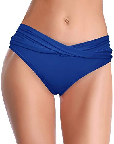 SHEKINI Fondo Bikini per Donna A Vita Media Triangolo Classico Slip Bikini Frontale Ruched Tronco da Nuoto Copertura Moderata Costumi da Bagno da Spiaggia (S, Blu Reale)