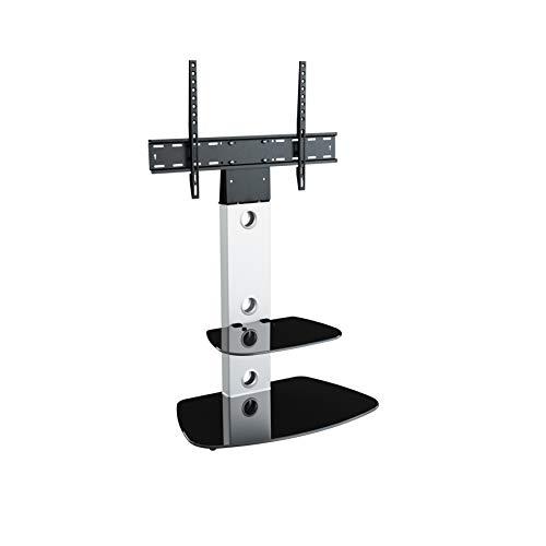 King Meuble TV Cantilever Support TV Intégré,pour Écrans de 32'' à 65'' LCD LED Plasma, H 117.7 cm, 2 Étagères Arrondies