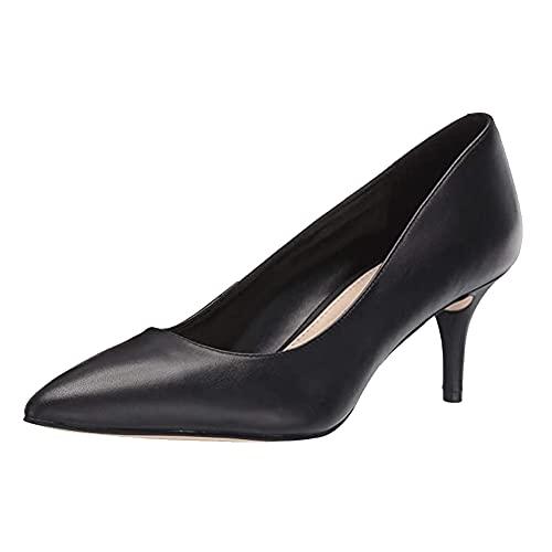 CosyFever Zapatos de Tacón Confort Sólido Parte Superior de Corte Bajo Puntera Cortada FDC00065 para Mujeres Nubuck Negro - 39 EU