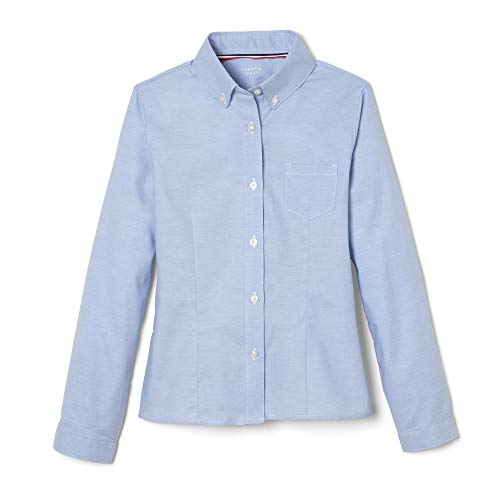French Toast Big Girls' Long Sleeve Button Down Oxford, Light Blue, 14
