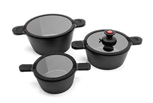 Karcher Toni - Batería de cocina de aluminio fundido - ollas de inducción con tapa de cristal y práctico mango de succión - 7 piezas