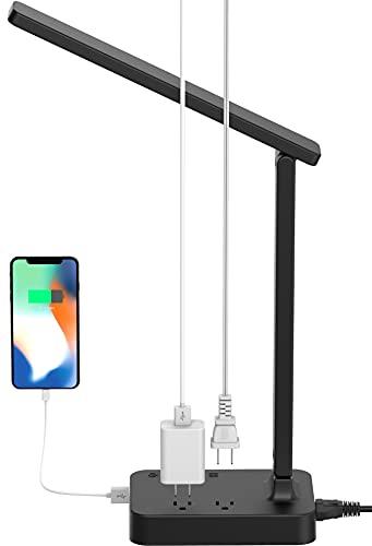 LED Desk Lamp, Drevet Desk Light with 1 USB Charging Port and 2 AC Power Outlet, 3 Lighting Modes, 3...