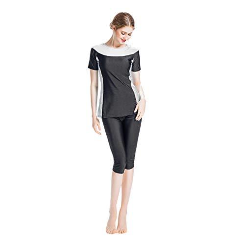 Zimuuy Damen Bademode Frauen Muslim Badeanzug Konservativen Weste Beachwear Damenmode Zweiteiler Schwimmanzug (XS, Schwarz)