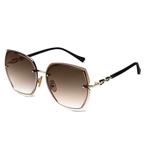 LumiSyne Gafas De Sol Sin Montura Mujer De Gran Tamaño Anteojos Gradiente Transparente Templo De Diamantes De Imitación UV400 Gafas De Sol Sin Marco(Marrón)