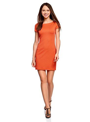 oodji Ultra Damen Kleid aus Strukturiertem Stoff mit U-Boot-Ausschnitt, Orange, DE 36 / EU 38 / S