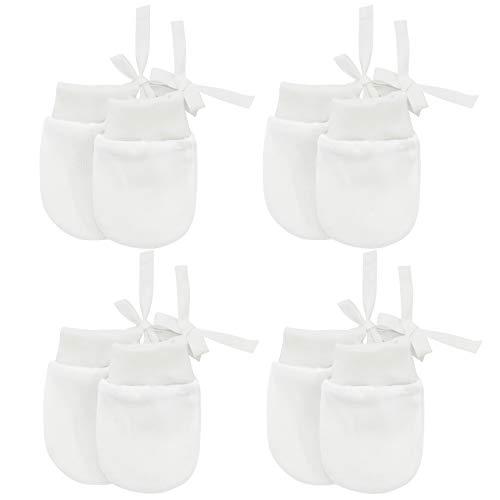 Durio Newborn Mittens Cotton No Scratch Baby Mittens for Newborn Baby Boys and Girls 0-12 Months White