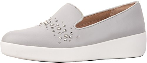 FitFlop Women's Audrey Pearl Stud Smoking Slippers Loafer Flat, 8.5 M US