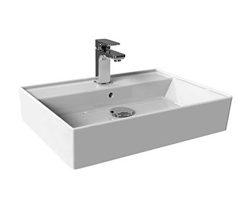 Aqua Bagno Basic | Design Waschbecken Plan | Aufsatz-Waschbecken Eckig | Waschtisch | Aufsatzbecken | Keramik | Weiß | 60 x 45 x 13 cm