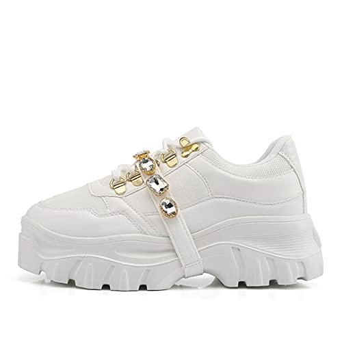 Oceansee Zapatillas de Deporte Plataforma para Mujer Zapatillas de Deporte Gruesas de la Moda Suela Gruesa Zapatos de Altura Creciente Papá Calzado Casual Zapatos White 37