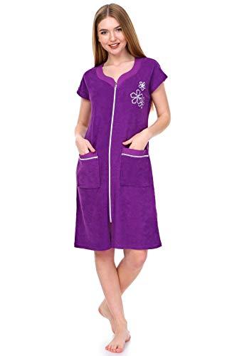 Brighton Robes Womens Turkish Terry Cotton Zipper Front Two Pockets Robe Sleepwear Beach Dress (L, Violet)