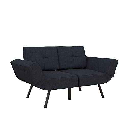 REALROOMS Euro Loveseat Futon, Reclining Sofa and Couch with Magazine Storage Pockets, Blue Linen