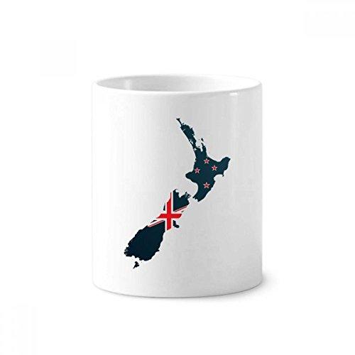 DIYthinker Die Flaggege Island Land Karte Neuseeland Zahnbürste Stifthalter Tasse Weiß Keramik Tasse 12 Unzen 4 Zoll hoch x 3 Zoll Durchmesser Mehrfarbig